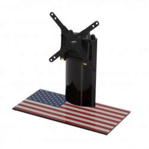 """King Table Top Base Pedestal Stand with Universal Bracket and Stars & Stripes United States of America USA Flag by TV Furniture Direct (12"""" - 32"""")"""