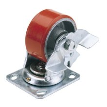 Draper 65533 200mm Dia. Swivel Plate Fixing Heavy Duty Polyurethane Wheel with Brake - S.W.L. 500Kg