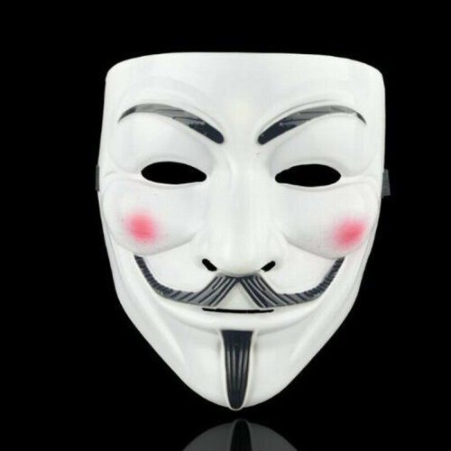 (White) Vendetta Guy Fawkes Hacker Face Mask Adults Halloween Fancy Party Cosplay