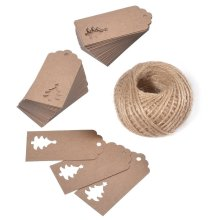 Christmas Gift Craft tags 100 PCS Hang Paper/Kraft Tag with 30 Meters Perfect for Decorating Christmas Tree, Handmade Work (Brown)