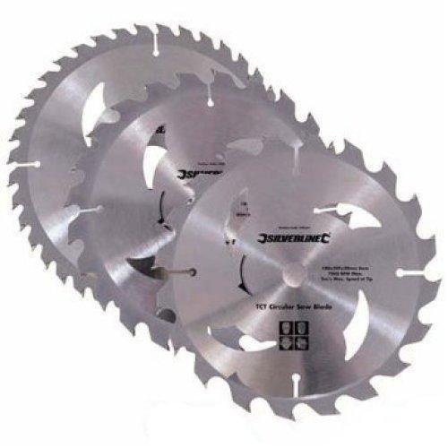 Silverline 184mm x 30mm TCT Circular Saw Blades Pack x3 (20/24/40T 16mm Rings)