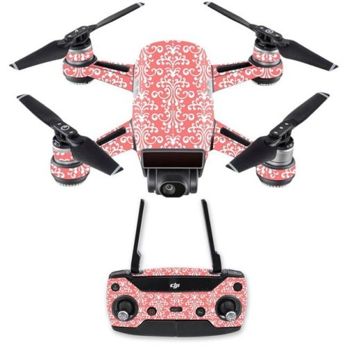 MightySkins DJSPCMB-Coral Damask Skin Decal for DJI Spark Mini Drone Combo Sticker - Coral Damask