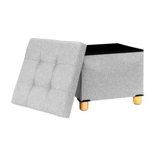 (Light gray) Fabric Foot Rest Stool Storage Space Box Chair
