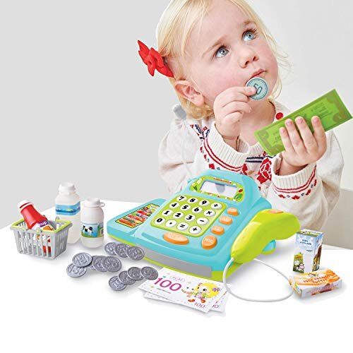 Coo11 Toy Cash Register for Kids with Checkout Scanner Card Reader