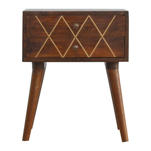 2 Drawer Bedside with Wired Gold Inlay