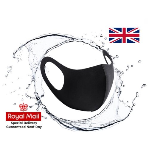 Adult black Face Mask Protective Covering Washable Reusable Unisex UK