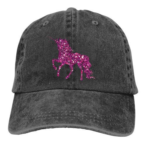 Pink Glittering Unicorn Denim Baseball Caps