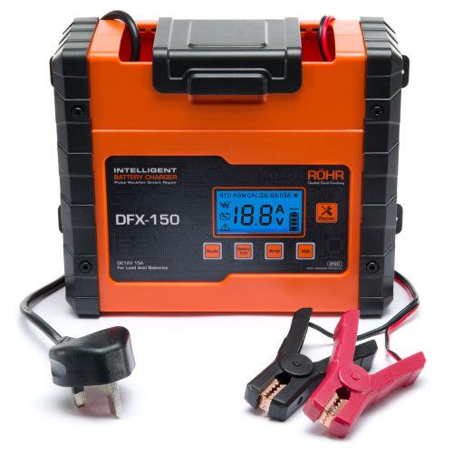 Röhr DFX-150 Smart Car Battery Charger AGM / GEL / WET Repair 15 Amp 12v  | Intelligent Trickle / Turbo Fast Charge