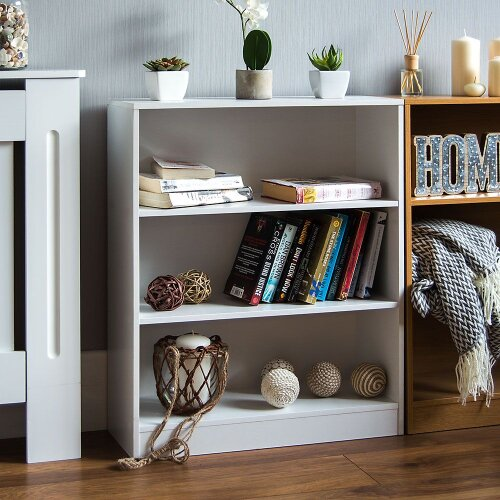 Cambridge 3 Tier Low Bookcase Shelf & Display Unit