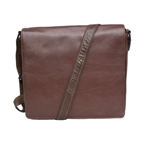 """Woodland Leather Tribal Landscape Messenger Bag 13.5"""" Tablet Case"""