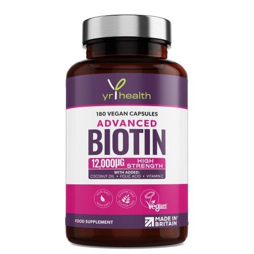 Biotin Hair Growth Supplement 12,000mcg Coconut Oil, Folic Acid, Vit C