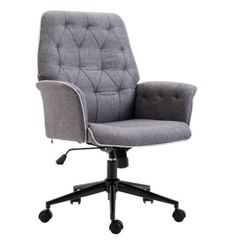 Homcom Grey Linen Office Chair   Grey Swivel Desk Chair