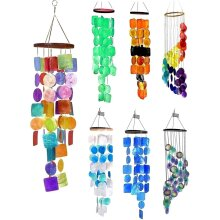 Bellaa 22890 Rainbow Wind Chimes, Outdoor Hanging Beach Shell Presents