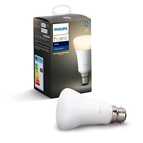 Philips Hue White Single Smart Bulb LED [B22 Bayonet Cap] with Bluetooth, Works with Alexa and Google Assistant