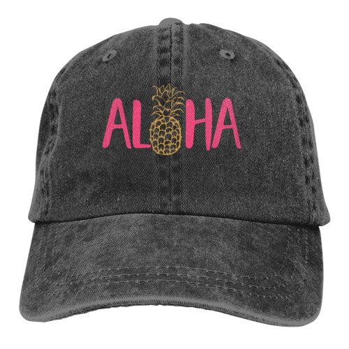 Aloha Pineapple Pink Denim Baseball Caps