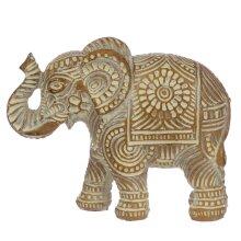 Decorative Thai Brushed White and Gold Small Elephant
