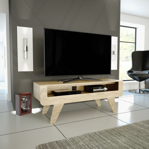 """(Whitewashed Oak) Mahara Tapered Leg TV Stand - for TVs up to 60"""""""
