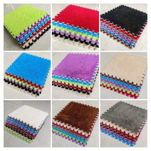 10pcs EVA Foam Soft & Shaggy Floor Mats Interlocking Rug Tiles - Puzzle Mat