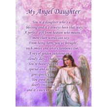 """Angel Daughter Poem Verse Greeting Card 8""""x5.5"""""""