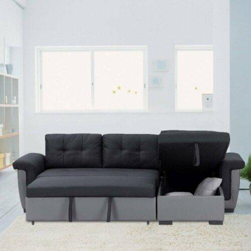 Corner Sofa Bed with Storage, Black Fabric + Grey Leather