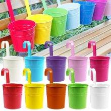 Zulux 10pcs Flower Pots 10 Colors Metal Iron Flower Pot Hanging Balcony Garden Plant Planter Home Decoration