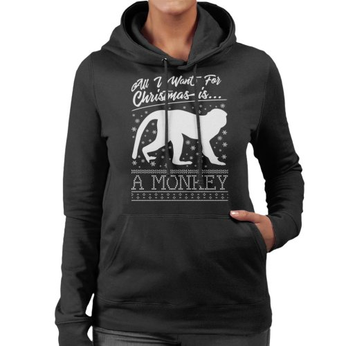 All I Want For Christmas Is A Monkey Knit Pattern Women's Hooded Sweatshirt