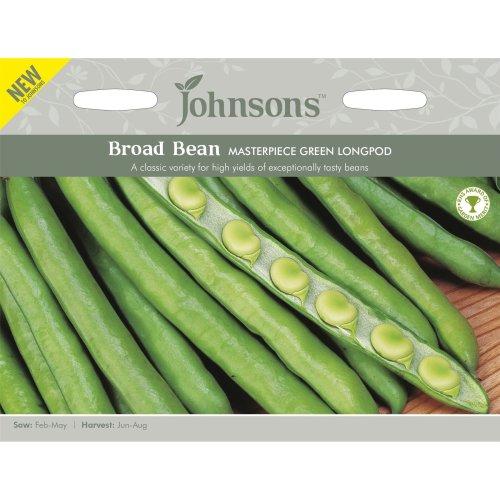 Johnsons Seeds - Pictorial Pack - Vegetable - Broad Bean Masterpiece Green Longpod - 50 Seeds