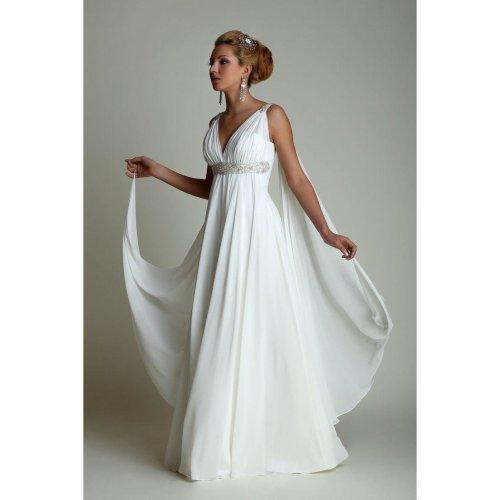 Greek Style Wedding Dresses with Watteau Train 2017 V-neck Long Chiffon Grecian Beach Maternity Wedding Gowns Grecian Bridal