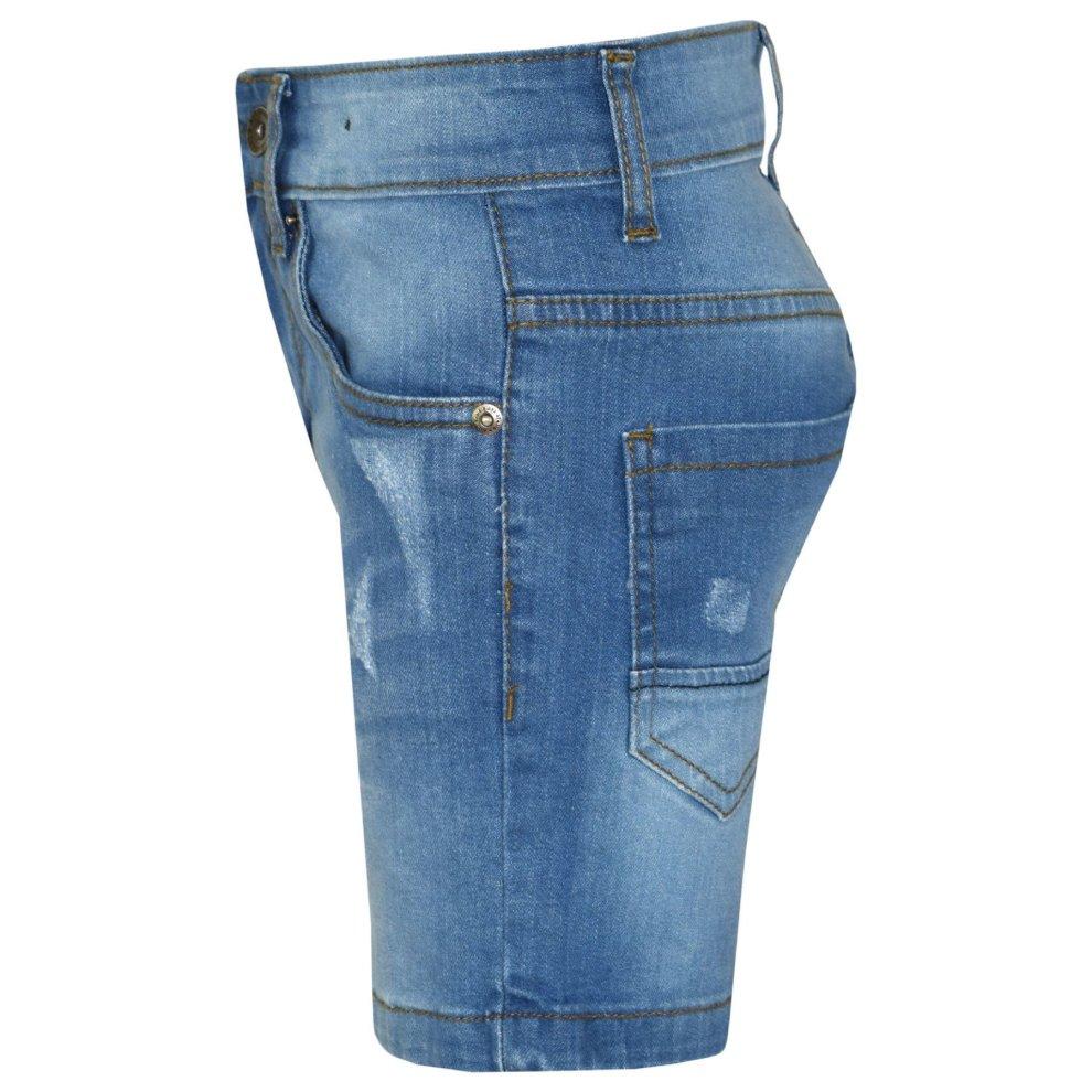 Kids Boys Shorts Denim Ripped Light Blue Chino Bermuda Jeans Short Knee Length