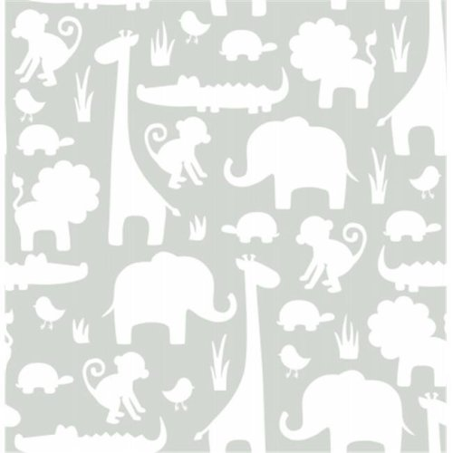 NuWallpaper NU1393 Its A Jungle In Here Peel and Stick Wallpaper, Grey