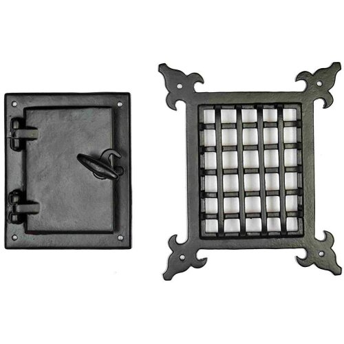 Cast Iron Safety classic Style Black Speakeasy Grill & Girlle With Viewing Door Set Accent Door Gate Interior Privacy By Perilla Home