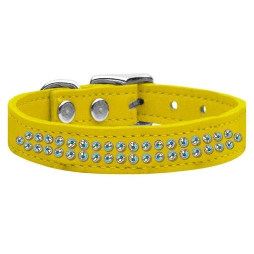 Mirage Pet 83-37 18Yw Two Row AB Jeweled Leather Collar, Yellow - Size 18