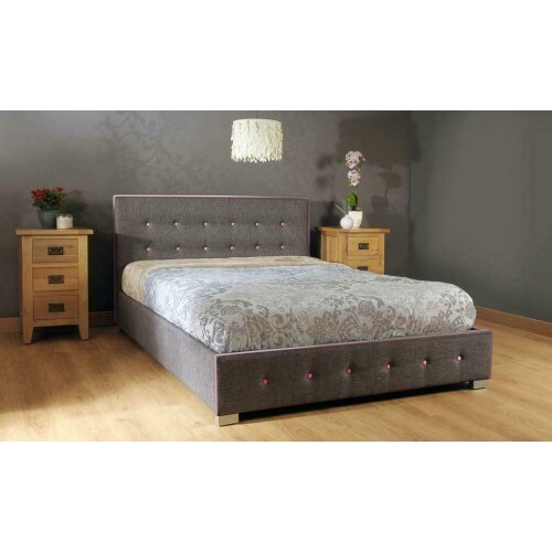 Fabric Ottoman with Contrasting Buttons Storage Bed Frame with Charlotte Mattress