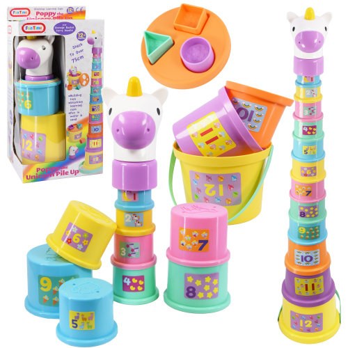 The Magic Toy Shop Poppy The Unicorn Baby Stacking Nesting Cups Blocks & Bucket Activity Fun Toy