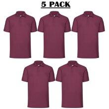 5 Pack Fruit of the Loom Mens Burgundy Polo Shirt