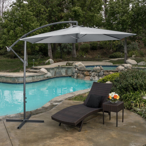 (Grey, Cross Base) 3M Cantilever Garden Umbrella Outdoor Parasol