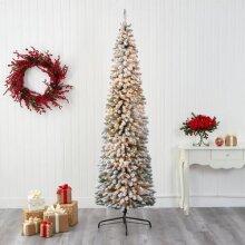 6ft Pre-Lit Snow Flocked Pencil Christmas Tree 270 LEDs Xmas 700 Tips