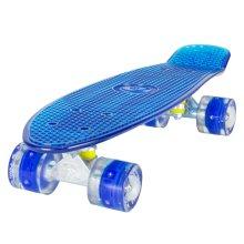 "Land Surfer Cruiser Skateboard 22"" CLEAR BLUE BOARD LED BLUE WHEELS"