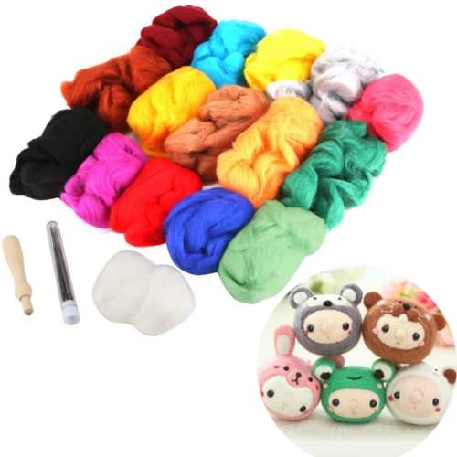DIY 16 Colours Needle Felting Starter Kit Set 160G Wool Needles Felt Mat Tool