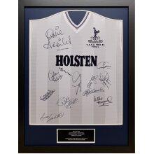 Framed Tottenham Hotspur 1984 Uefa Final shirt signed x 12 with COA