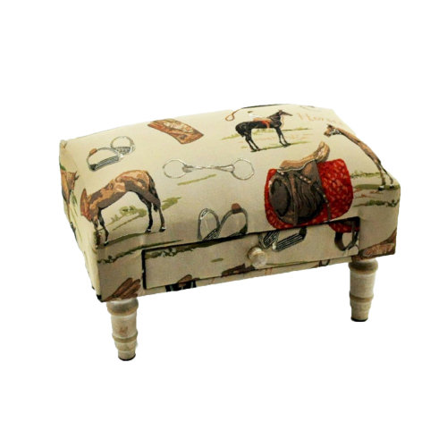 Rectangular Equestrian  Horse Tapestry Footstool with Drawer