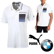 Puma BMW Motorsport F1 Mens Polo Tee Shirt White/TBlue
