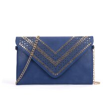 VK5292 Blue - Studded Hollow Clutch Bag With Chain Shoulder Strap
