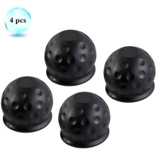 Eacalyc 4 x Tow Ball Cover Black Rubber Towing bar ball cap 50mm Soft Trailer Hitch Ball Cover Protect for Towing Trailer Caravan