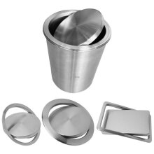 Stainless Steel Flush Recessed Built-in Balance Swing Flap Lid Cover, Trash Bin Garbage Can Kitchen Counter Top