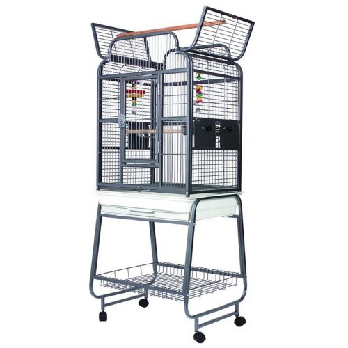 Parrot Cage Open Top Antique On Stand On Wheels