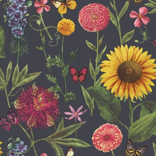 Arthouse Summer Garden Multi Colour Flower Sunflower Butterfly Leaf Motif Wallpaper  676203