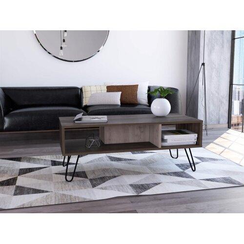 Coffee Table Open Under Storage Shelf Living Room Furniture Two Tone Grey Oak
