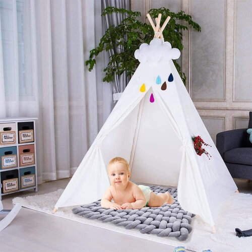 (White) Kids Teepee Play Tent Cotton Canvas Indian Tipi