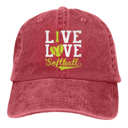 (Red) LIve Love Softball Denim Baseball Caps
